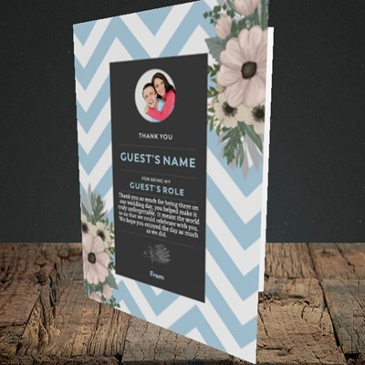 Picture of Zigzag Blue SG, Wedding Design, Portrait Greetings Card