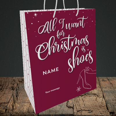 Picture of Christmas Shoes(Without Photo), Christmas Design, Medium Portrait Gift Bag