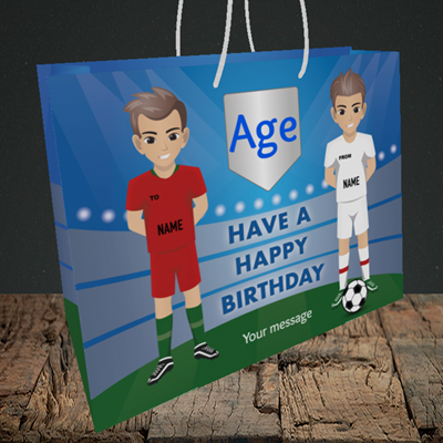Picture of Football, (Without Photo and editable age) Birthday Design, Medium Landscape Gift Bag