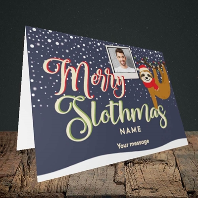 Picture of Merry Slothmas, Christmas Design, Landscape Greetings Card