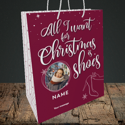 Picture of Christmas Shoes, Christmas Design, Medium Portrait Gift Bag