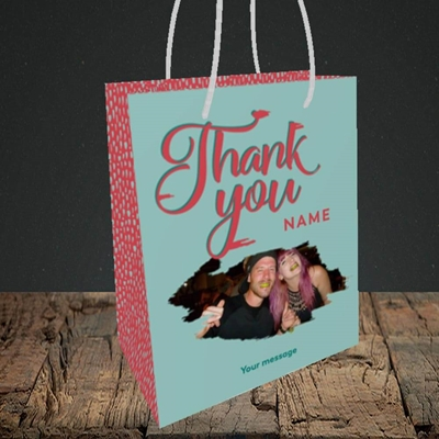 Picture of Paint Swatch, Thank You Design, Small Portrait Gift Bag