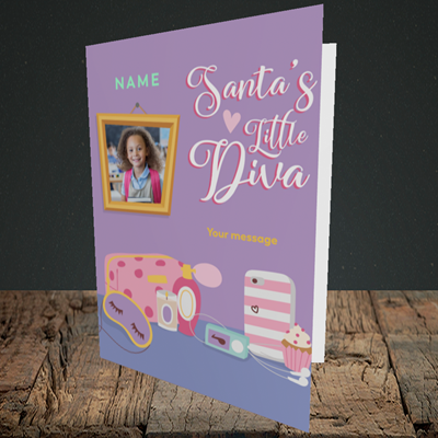 Picture of Little Diva, Christmas Design, Portrait Greetings Card