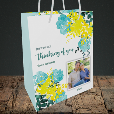 Picture of Watercolour, Thinking of You Design, Medium Portrait Gift Bag