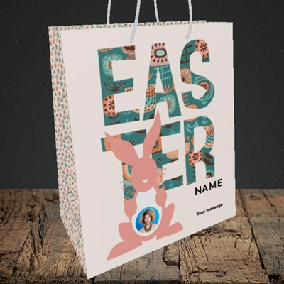 Picture of Pink Bunny, Easter Design, Medium Portrait Gift Bag