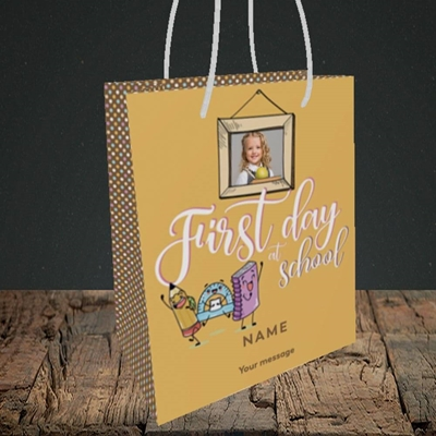 Picture of First Day At School, Good Luck Design, Small Portrait Gift Bag