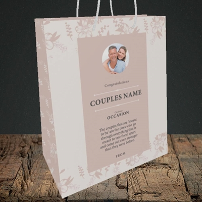 Picture of  Floral Edges Pink, Anniversary Design, Medium Portrait Gift Bag