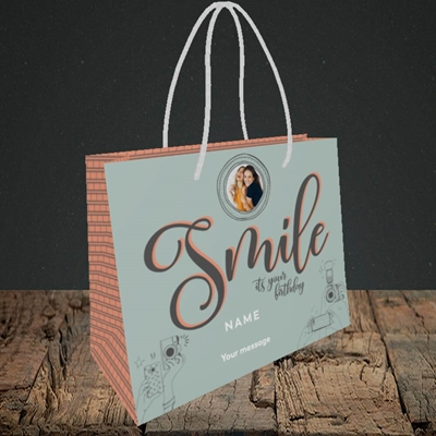Picture of Camera Smile, Birthday Design, Small Landscape Gift Bag