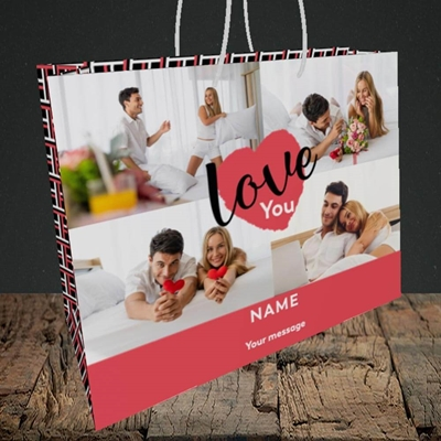 Picture of Central Heart, Valentine's Design, Medium Landscape Gift Bag