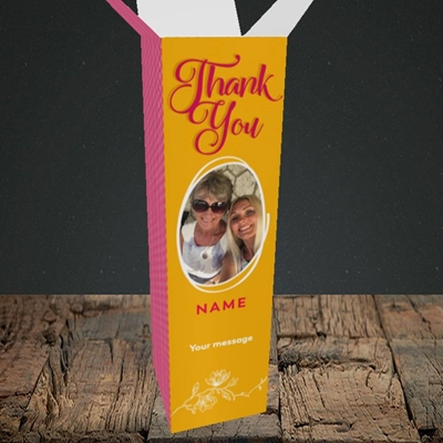 Picture of Flowers, Thank You Design, Upright Bottle Box