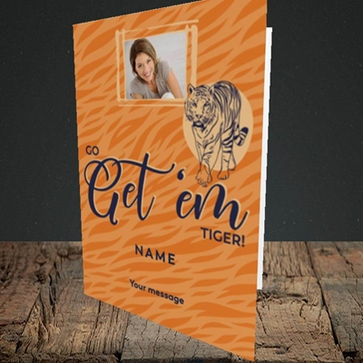 Picture of Get 'em Tiger, Good Luck Design, Portrait Greetings Card