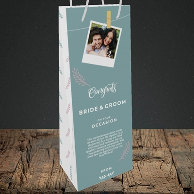 Picture of Peg & Polaroid Teal B&G, Wedding Design, Bottle Bag