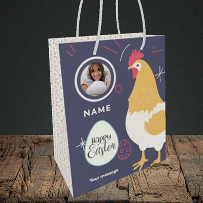 Picture of Easter Hen, Easter Design, Small Portrait Gift Bag