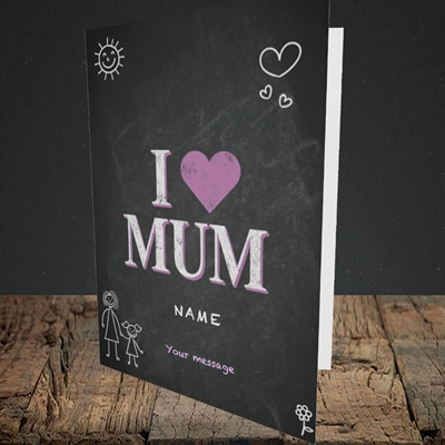 Picture of I Love Mum (Chalk Board),(Without Photo), Portrait Greetings Card