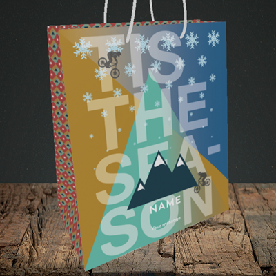 Picture of MTB Rider(Without Photo), Christmas Design, Medium Portrait Gift Bag