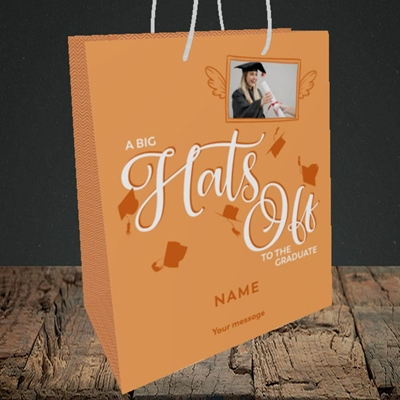 Picture of Hats Off, Graduation Design, Medium Portrait Gift Bag