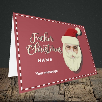 Picture of Father Christmas Mask, Christmas Design, Landscape Greetings Card