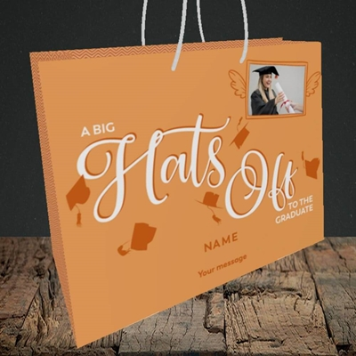 Picture of Hats Off, Graduation Design, Medium Landscape Gift Bag