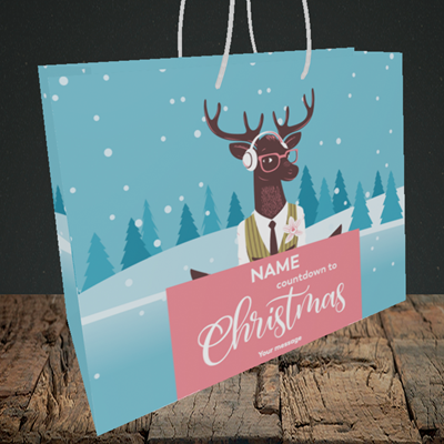 Picture of Countdown(Without Photo), Christmas Design, Medium Landscape Gift Bag