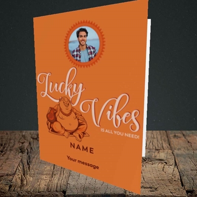 Picture of Lucky Vibes, Good Luck Design, Portrait Greetings Card