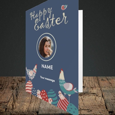 Picture of Hen & Chick Egg Hunt, Easter Design, Portrait Greetings Card